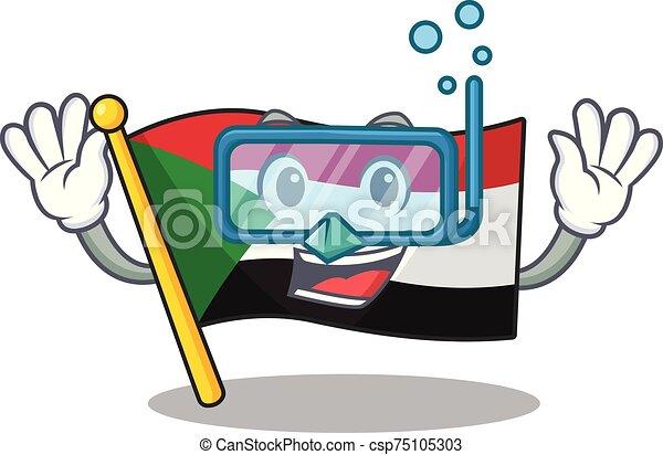 buceo, sudán, divertido, mascota, bandera, caricatura - csp75105303