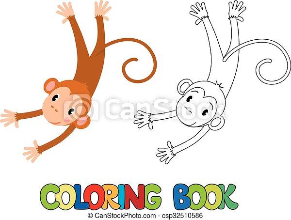 Buch, färbung, affe, lustiges. Bild, färbung, affe, lustiges ...