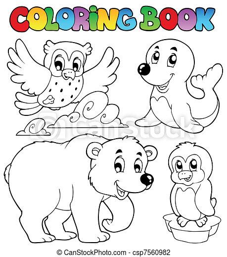 Buch, färbung, tiere, winter, glücklich. Färbung, tiere,... Vektor ...