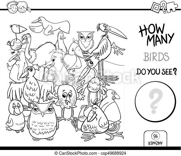 Buch, färbung, zählen, vögel, aktivität. Erzieherisch,... Vektor ...