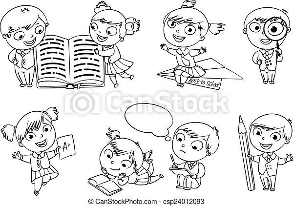 Buch, färbung, zurück, school. Satz, homework., score., zurück ...