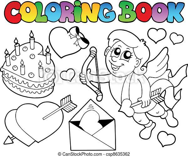 Buch, thema, färbung, 4, valentine. Färbung, illustration ...