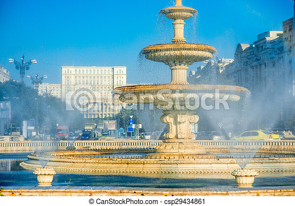 Bucharest central city fountain - csp29434861
