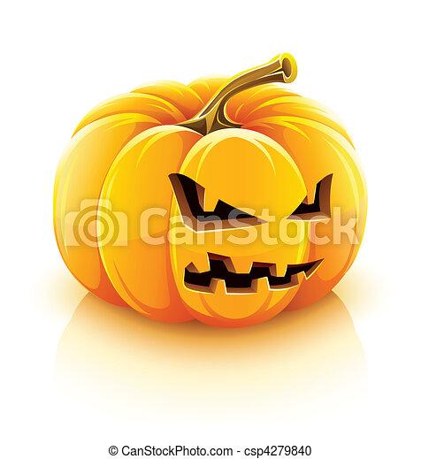 buchse-o-laterne, böser , halloweenkuerbis - csp4279840