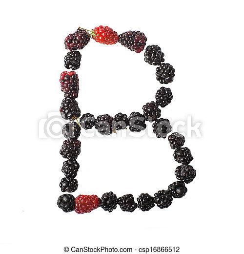 buchstabe b, auf, gemacht, brombeeren - csp16866512