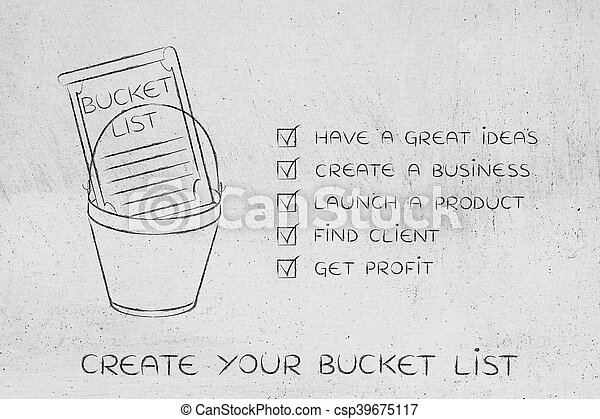 Bucket List With Innovative Business Success Checklist  Stock