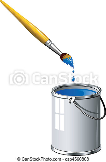 Bucket of blue paint and a brush - csp4560808