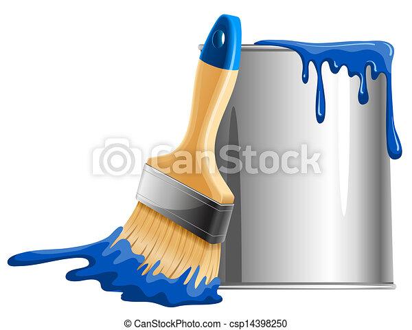 Bucket of paint and brush - csp14398250