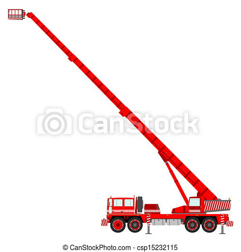 Bucket Truck Red Cherry Picker Vector Clip Art