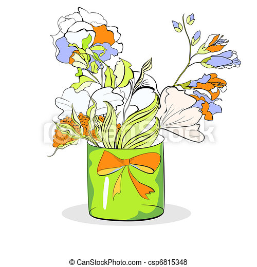 Bucket with flowers on white - csp6815348