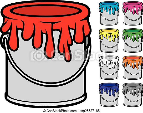 buckets of paint collection - csp28637185