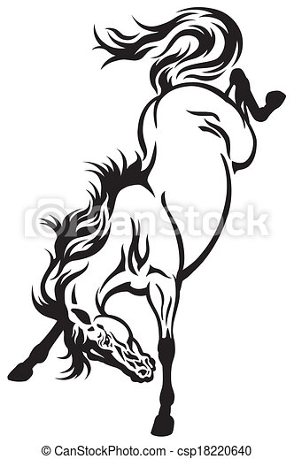 bucking horse tattoo - csp18220640