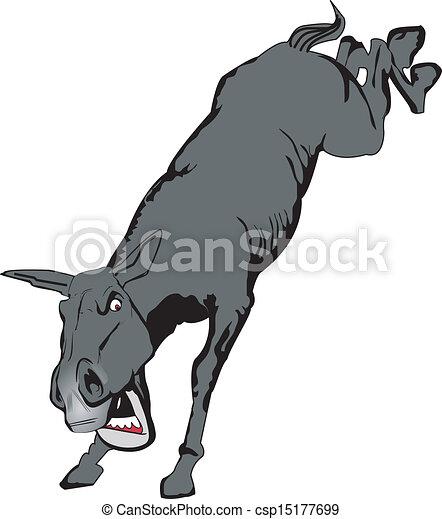 Bucking Mule Grey Mule Bucking Kicking Up Hooves
