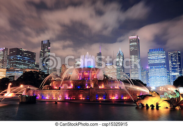 buckingham fontein, chicago - csp15325915