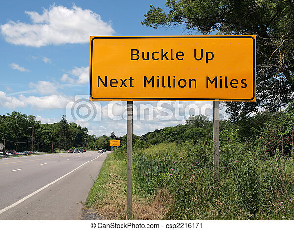 Buckle Up Sign and Highway - csp2216171