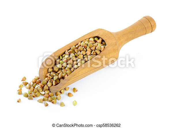 Buckwheat in scoop isolated on white background - csp58536262