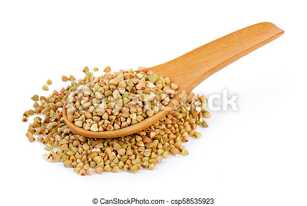 Buckwheat in spoon isolated on white background - csp58535923