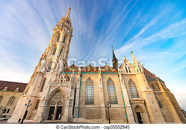 Buda temple church of Matthias. Budapest Castle District. - csp35552845