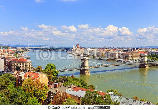Budapest and Danube river panoramic view, Hungary, Europe  - csp22095939