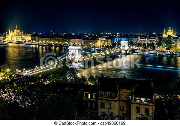 Budapest at night, Hungary - csp49060169