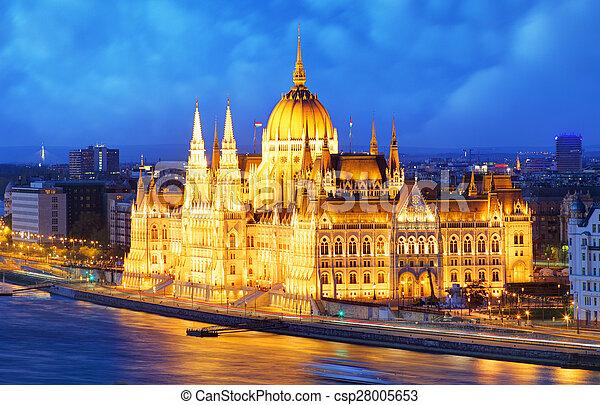 Budapest at night - Parliament, Hungary - csp28005653