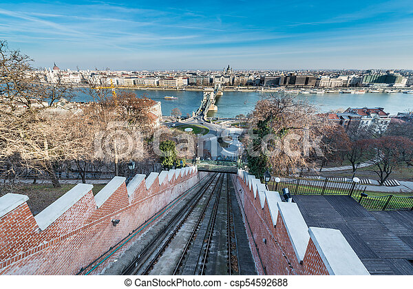Budapest Castle Hill Funicular, Hungary. - csp54592688