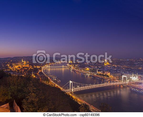 Budapest cityscape at night. Hungary - csp60149396