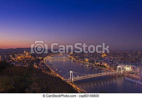 Budapest cityscape at night. Hungary - csp60146600