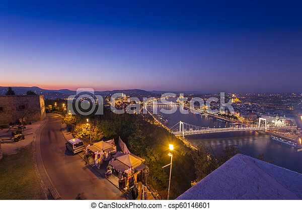 Budapest cityscape at night. Hungary - csp60146601