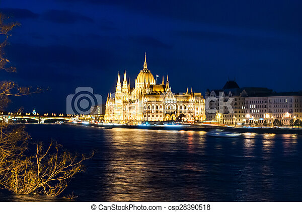 Budapest Cityscape at night.  - csp28390518