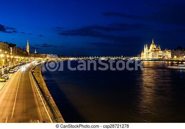 Budapest Cityscape at night.  - csp28721278