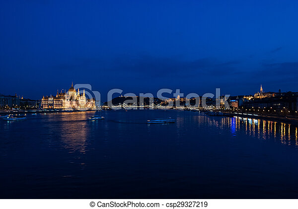Budapest Cityscape at night.  - csp29327219