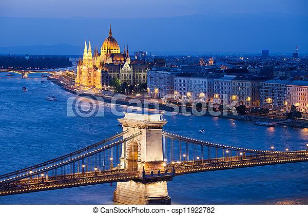 Budapest Cityscape at Night - csp11922782