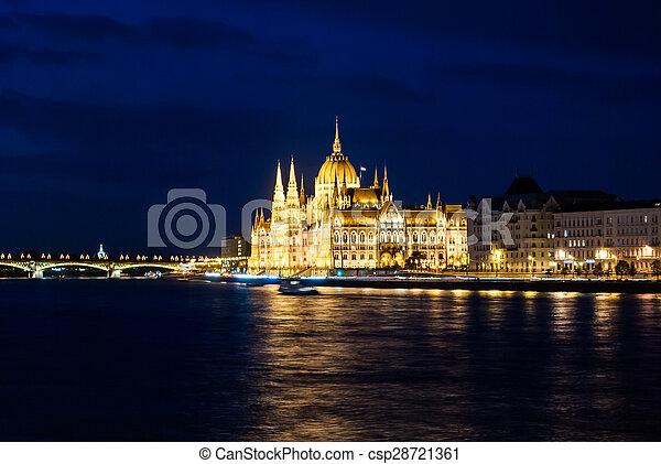 Budapest Cityscape at night.  - csp28721361