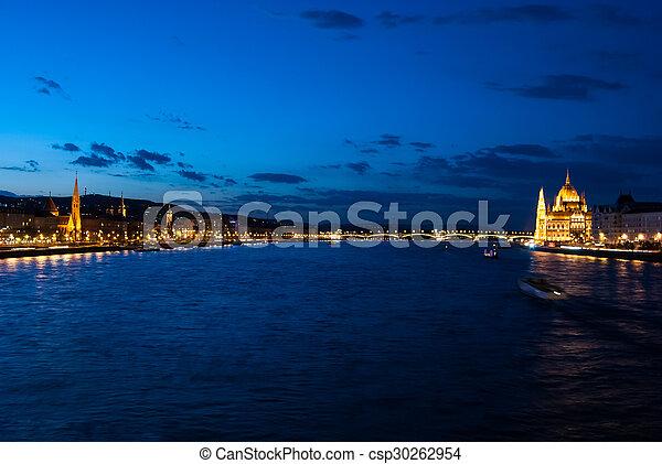 Budapest Cityscape at night.  - csp30262954