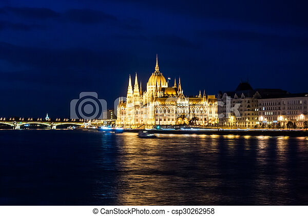 Budapest Cityscape at night.  - csp30262958