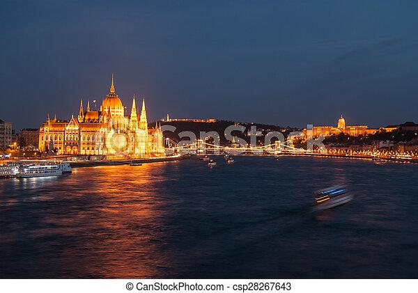Budapest Cityscape at night.  - csp28267643