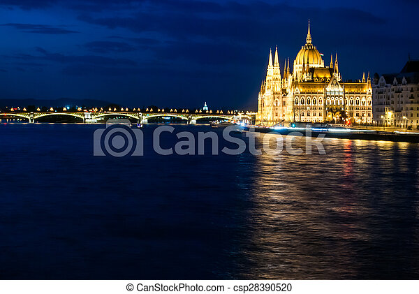 Budapest Cityscape at night.  - csp28390520