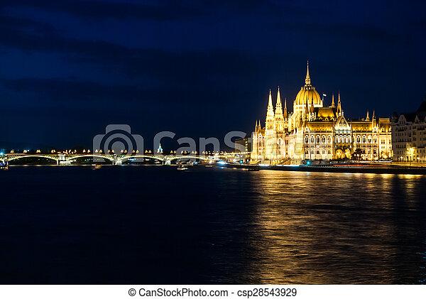 Budapest Cityscape at night.  - csp28543929