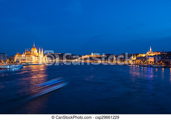 Budapest Cityscape at night.  - csp29661229