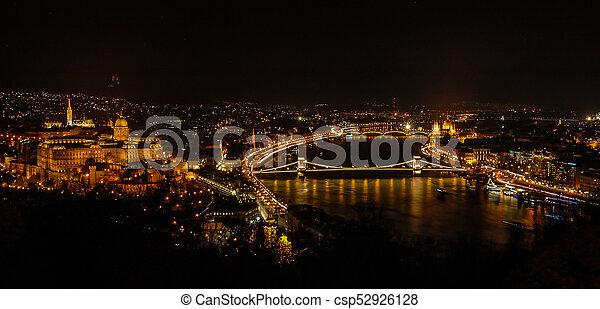 Budapest cityscape at night - csp52926128