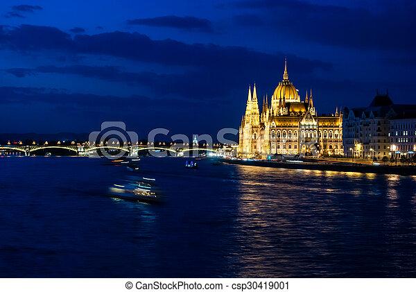 Budapest Cityscape at night.  - csp30419001