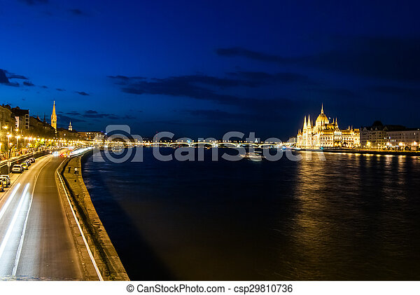 Budapest Cityscape at night.  - csp29810736