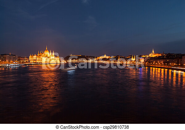 Budapest Cityscape at night.  - csp29810738