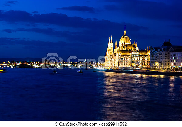 Budapest Cityscape at night.  - csp29911532