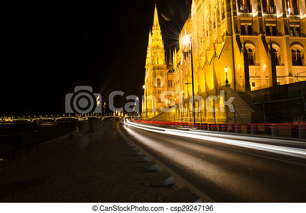 Budapest Cityscape at night with the Hungarian Parliament Beautiful reflection in the water of Danube river. - csp29247196