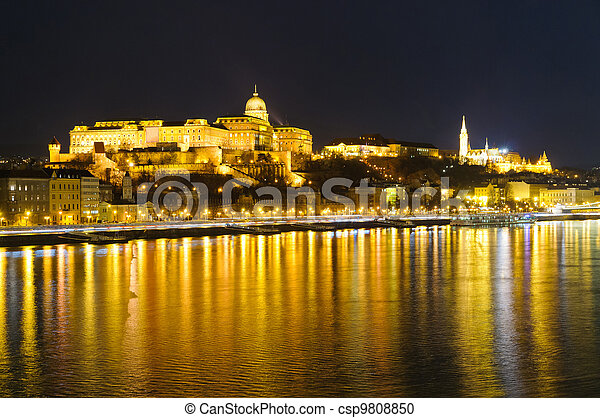 Budapest, Hungary, at night - csp9808850