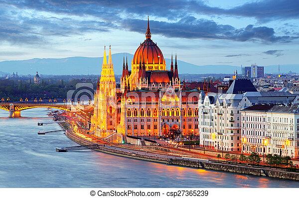 Budapest, Hungary parliament at night - csp27365239