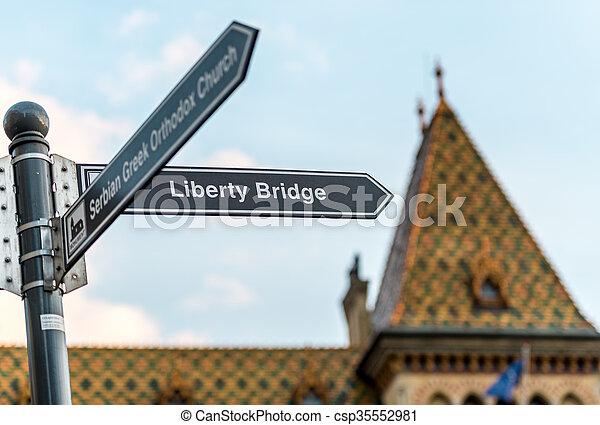 Budapest liberty bridge signpost, Hungary, Europe. - csp35552981