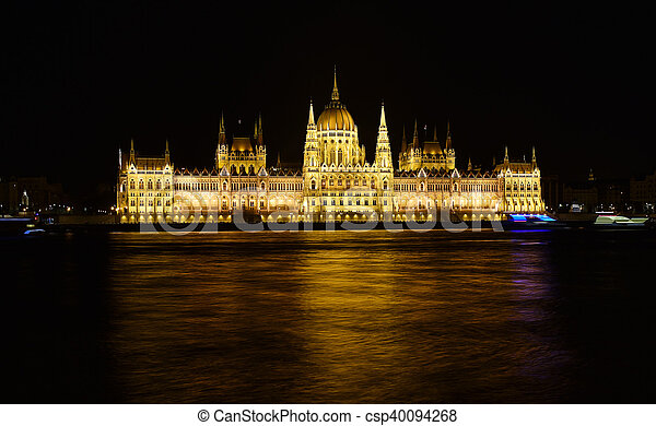 Budapest parliament at night near the Danube river - csp40094268